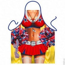 American High-School Cheerleader with Pompoms Apron