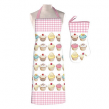 Pink Gingham Matching Cupcake Apron and Oven Glove Set