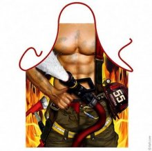 Super Hot Naked Muscly Fireman Mens Apron