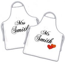 His & Her Mr & Mrs Personalised Names Apron Set