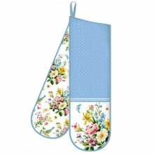 Katie Alice Retro Cottage Blue and White Double Oven Glove