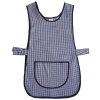 Navy Blue Gingham Pattern Tabard With Pocket