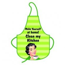 Clean My Kitchen Funny Retro Green Apron