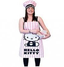 Pink Stripped Official Hello Kitty Apron & Hat
