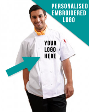 Double Breasted Pro Chef Jacket With Embroidered Business Logo