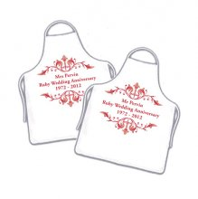 Ruby Wedding Anniversary Personalised Couples Cooking Apron Set
