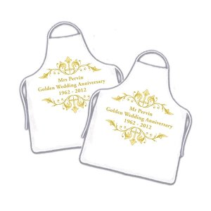 Personalised Couples Golden Anniversary Funky Aprons