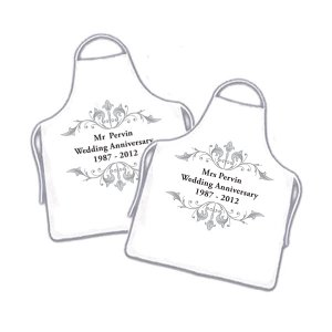 Cute Personalised Wedding Anniversary Couples White Aprons