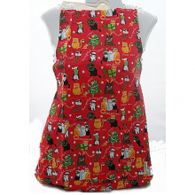 Red Funny Christmas Cats Novelty Cotton Apron