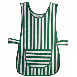 Green and White Striped Size Adjustable Work Tabard