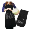Black and White Wave Design Apron and Oven Glove Set