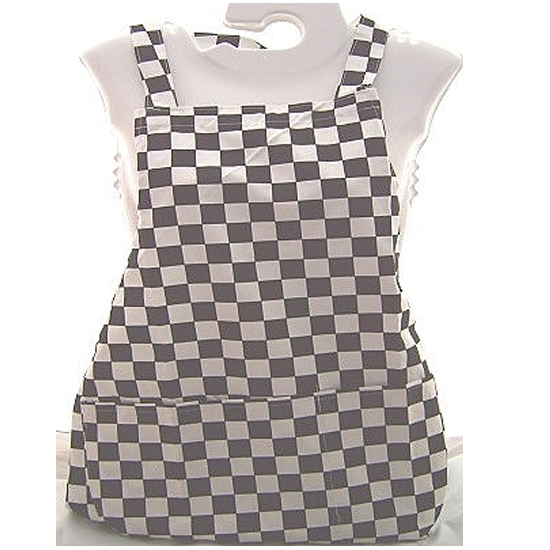 Classic Black and White Chequered Chefs Tie Back Apron