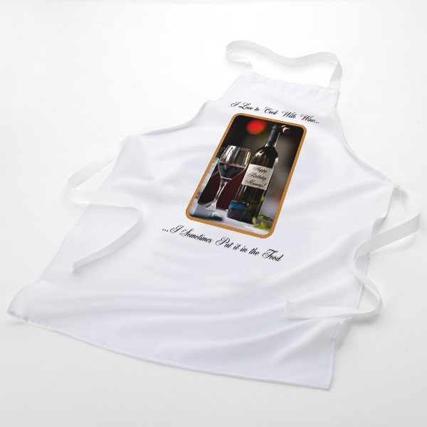 Cooking With Wine Personalised Message Apron