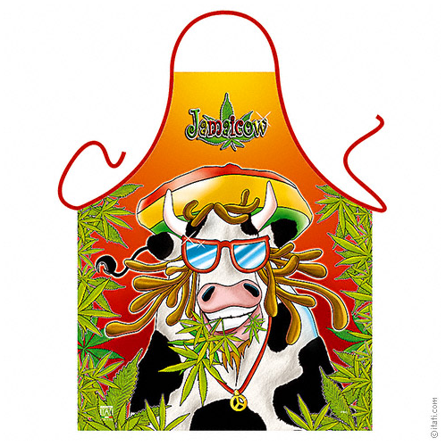 Funny Jamaicow Get High Novelty Apron