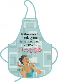 Its Me Or The House Blue Retro Apron