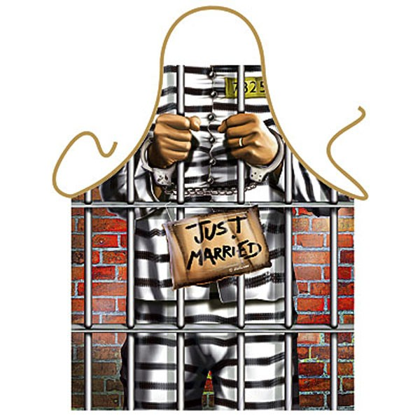 Just Married Funny Mens Jail Apron