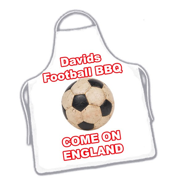 Personalised Name White BBQ Football Apron