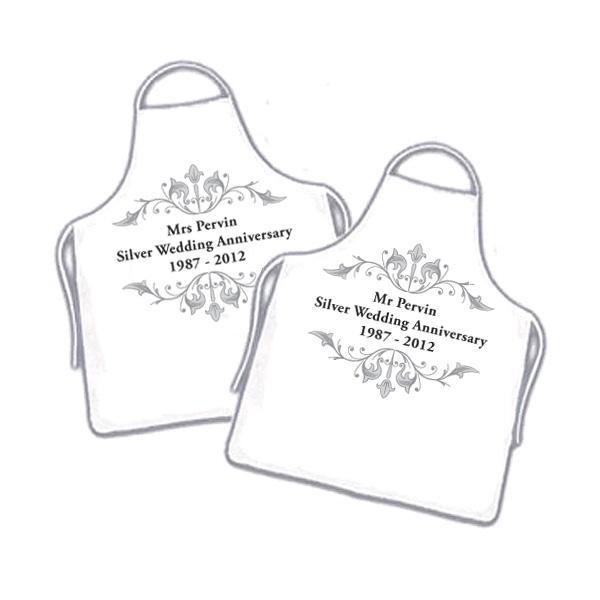Pair of Silver Wedding Anniversary Couples Personalised Aprons